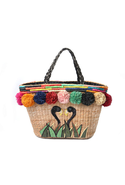 Flamingo Pom Pom Basket Bag