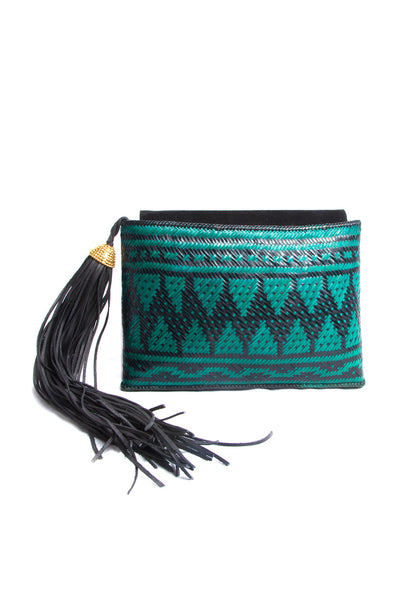 Turquoise and Black Woven Clutch Bag