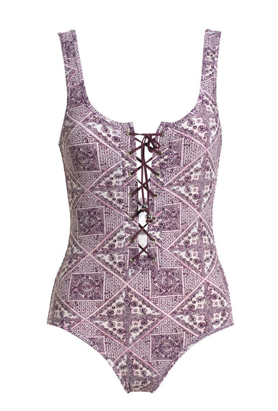 Ryker Lace Up Tile Print One Piece Swimsuit