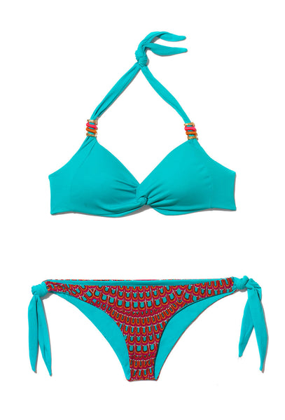 Turquoise and Orange Print Halterneck Bikini