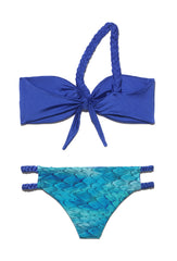 Blue One Shouldered Braided Strap Bandeau Bikini