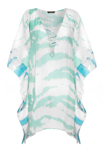 Turquoise and White Zebra Printed Cotton Kaftan