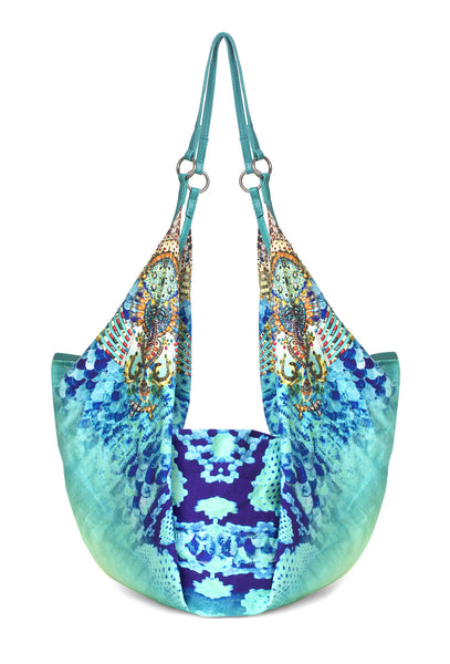 Turquoise Printed New Horizon Beach Bag