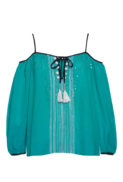 Turquoise and Silver Sequin Peasant Top