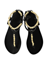 Chrysso Black Leather and Gold Sandals
