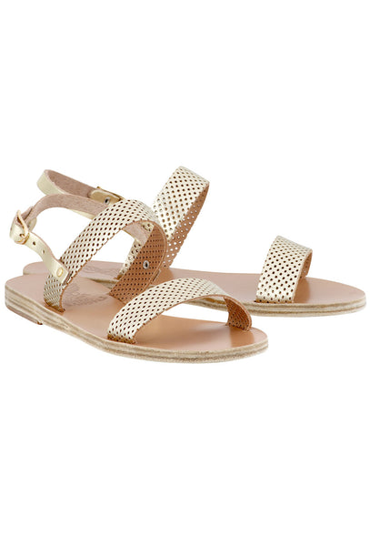 Gold Clio perforated leather flat sandals