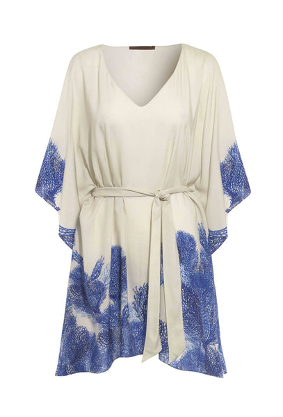 Harp Braganza Blue and White Coral Print Kaftan