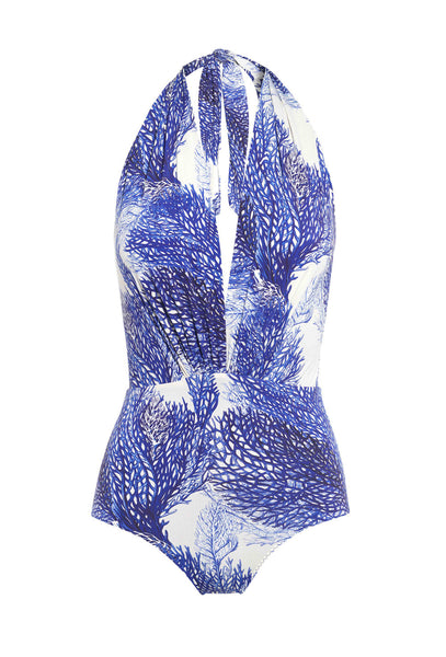 Harp Deneuve White and Blue Coral Print One Piece