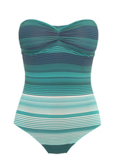 Turquoise Striped Reinach Bandeau One Piece