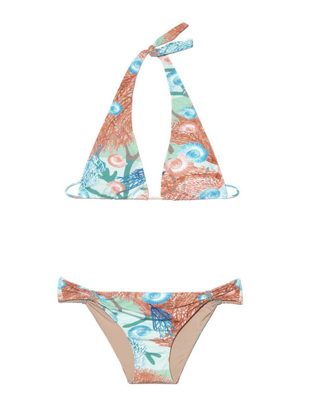 Algae Rings Green And Pink Coral Print Halterneck Bikini