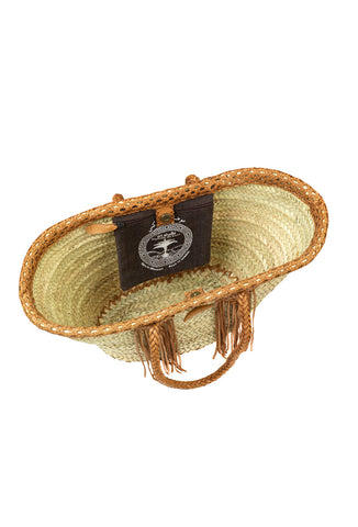 Fringed Tan Leather Trim Raffia Basket