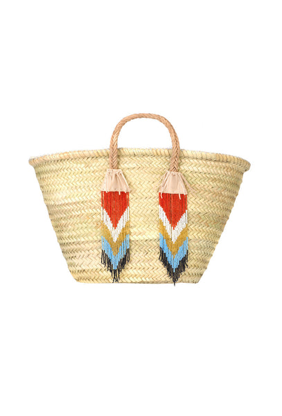 Beaded Fringe Natural Leather Trim Raffia Bag
