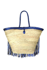 Antique Blue Metallic Fringed Leather Trim Raffia Basket