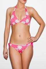 Pink and White Flower Tie-Side Bikini