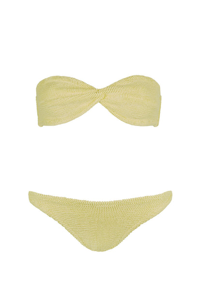 Lemon Yellow Twist Bandeau Bikini