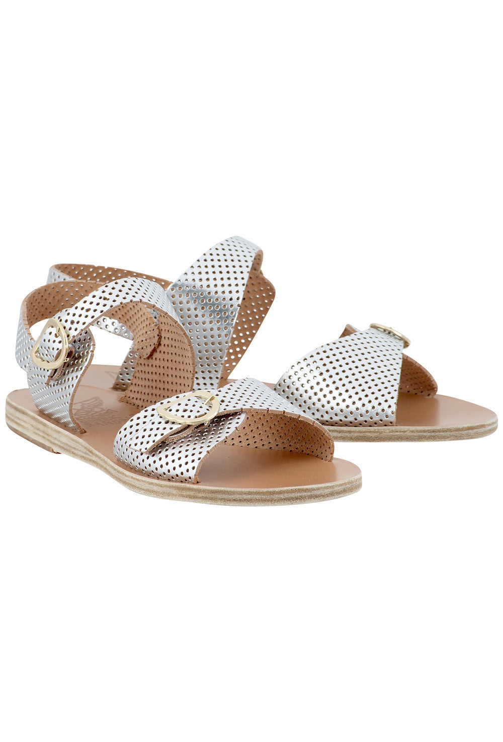 53aacc0a8 Irini Silver Leather Flat Sandals