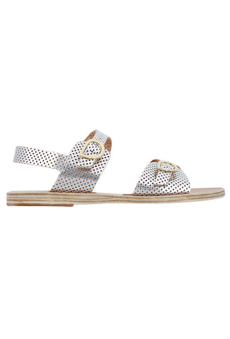 Irini Silver Perforated Leather Flat Sandals