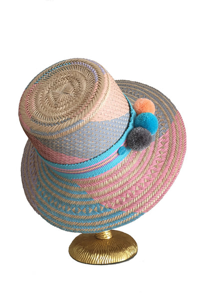 Pastel Handwoven Cassi Hat with Pom Poms