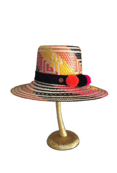 Pink Orange and Black Woven Carlita Hat