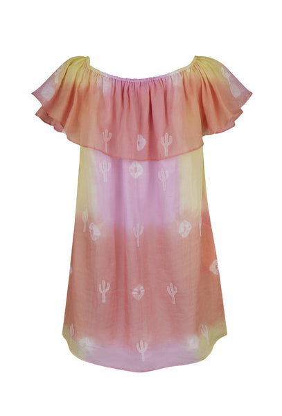 Cactus off-the-shoulder tie-dye dress