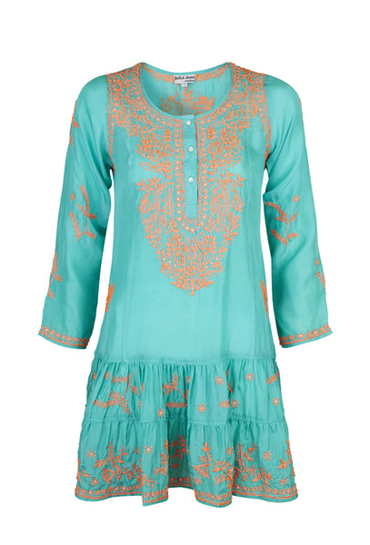 Jade Silk and Neon Orange Embroidered Dress