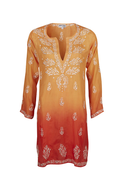 Orange Silk Hand Embroidered Dip Dye Kaftan