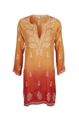 Orange Silk Hand Embroidered Dip Dye Kaftan - Final sale item