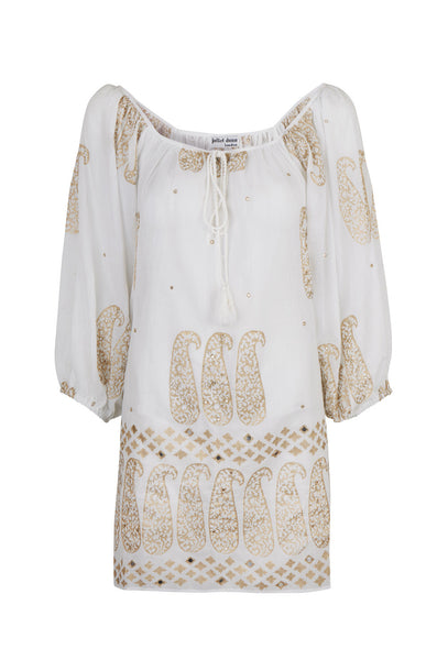 White Cotton and Gold Blouse Dress