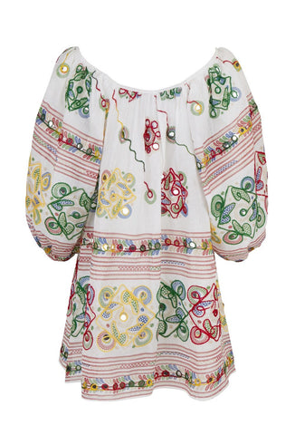 White Mirror Embroidered Dress