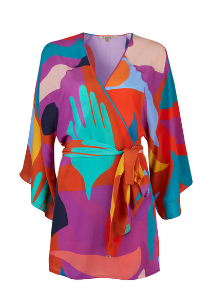 Multicoloured pellicano silk belted tunic