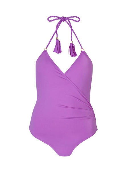 Purple Greta underwired one-piece swimsuit