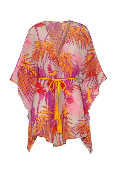 Pink and orange silk palm print Calypso tunic