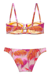 Pink and Orange Palm Print Ronda Bandeau Bikini