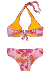 Pink and Orange Yasmin Palm Print Halterneck Bikini D/DD
