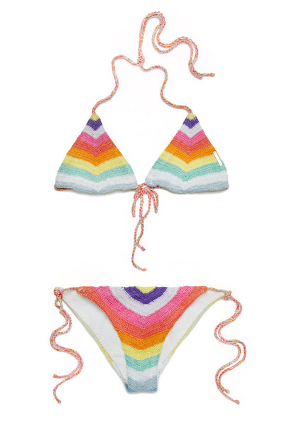 Rainbow Crochet triangle bikini