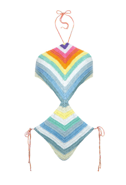 Rainbow Crochet One Piece Swimsuit