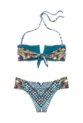Bandeau Bikini With Geo Peacock Print