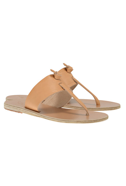 Melina tan leather flat thong sandals