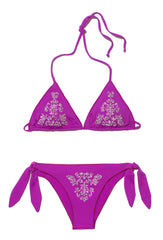 Purple Beaded Triangle Bikini