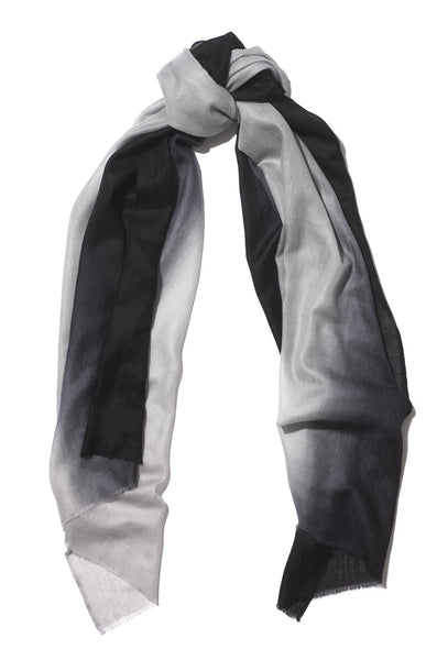Black and Grey Pure Cashmere Scarf