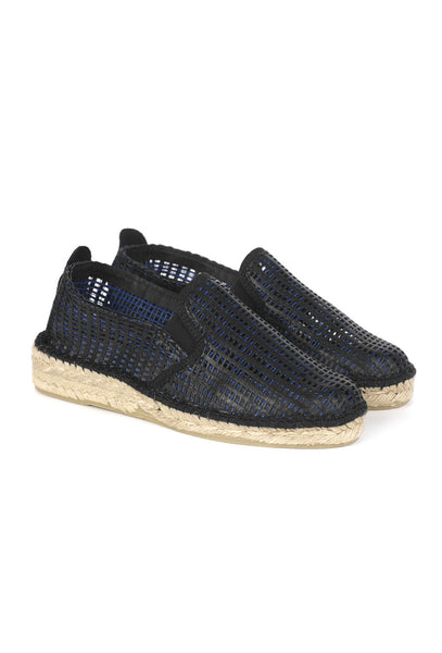Black leather and blue rope espadrilles