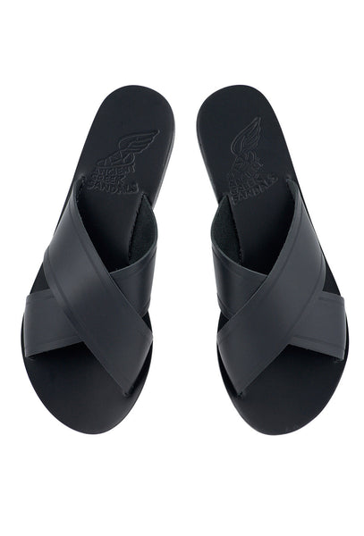 Thais black leather slip on sandals