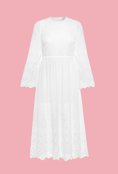 White Ticking Broderie Anglaise Dress