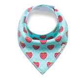 Blue Strawberries Bandana Bib