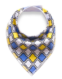 Blue Yellow Pattern Bandana Bib