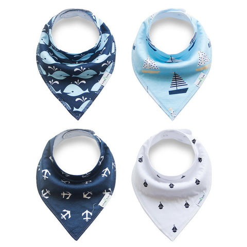 Super Sailor Collection - 4 Pack Bandana Bibs - BabaBibs
