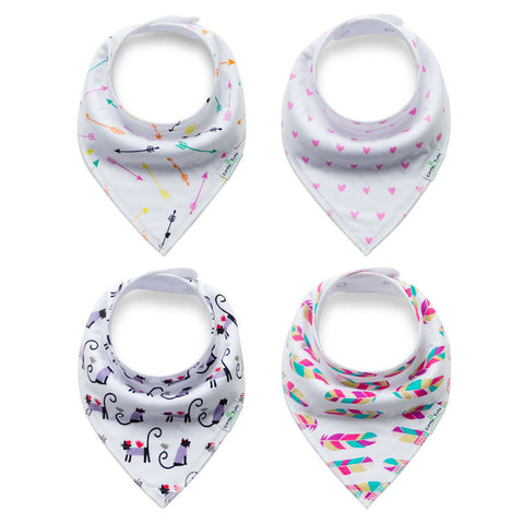 Vivid Valentines Collection - 4 Pack Bandana Bibs - BabaBibs