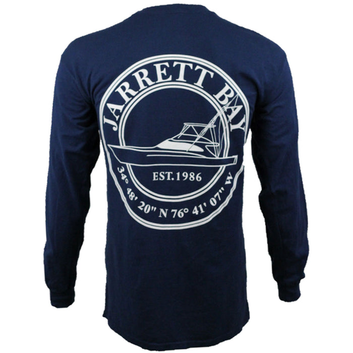 Jarrett Bay - Coastal Boat Icon LS - Navy - OffshoreApparel.com