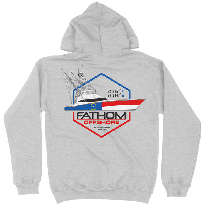 Fathom Offshore - Carolina Crew Fleece Hoody - Grey - OffshoreApparel.com