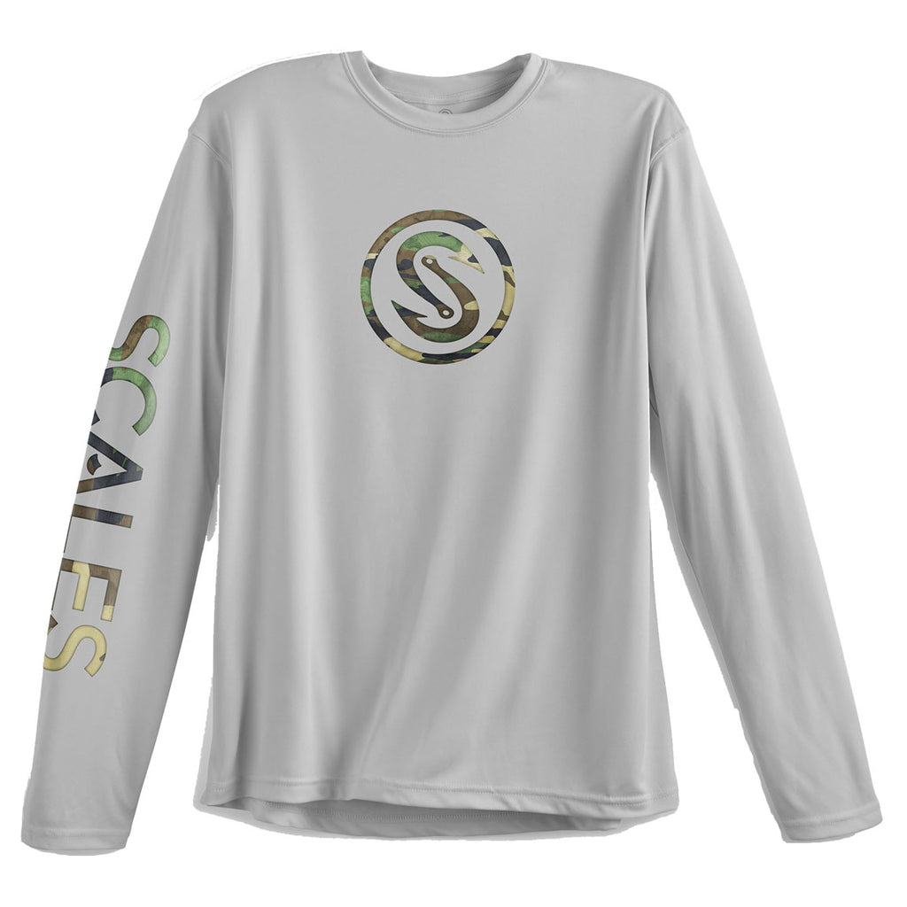 Scales - Hooks Green Camo Performance - Grey - OffshoreApparel.com